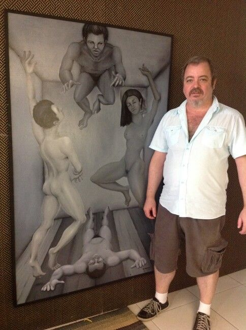 """Levitation Club"", oil painting"