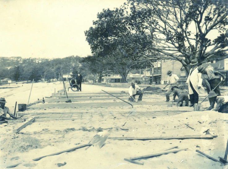 Construction of the original Balmoral Promenade in 1930.