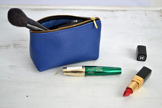 LEATHER POUCH Royal Blue Leather Clutch Blue Leather