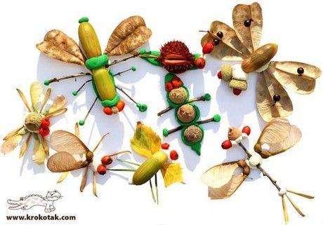 Поделки из осенних листьев и каштанов, желудей ч.2, Поделки с детьми