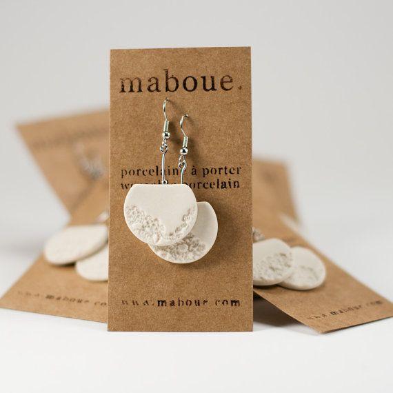 Lace your ears Porcelain earrings par maboue sur Etsy, $24,00
