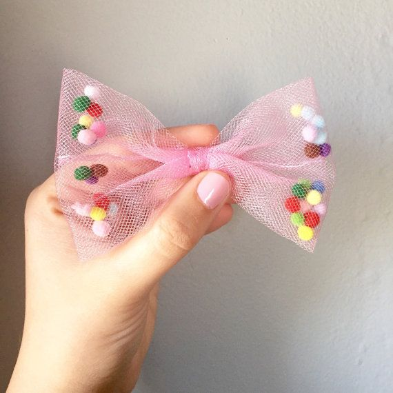 Celebration Tutu Bow  Pom Pom Tulle Bow  Confetti by PennyWishers
