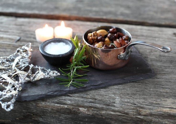 Why not fry some mixed nuts in a little olive oil, rosemary and a pinch of salt and serve in the mini pan!