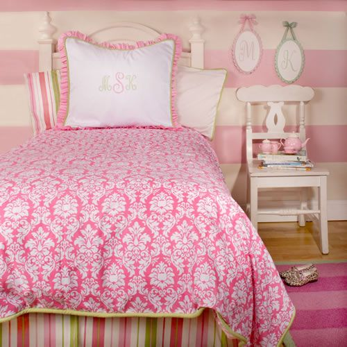 Pink Damask Bedding and Striped Wall PaintKids Beds, Stripes Wall, Beds Skirts, Girls Bedrooms, Kids Room, Pink Taffy, Big Girls Room, Pink Bedrooms, Beds Sets