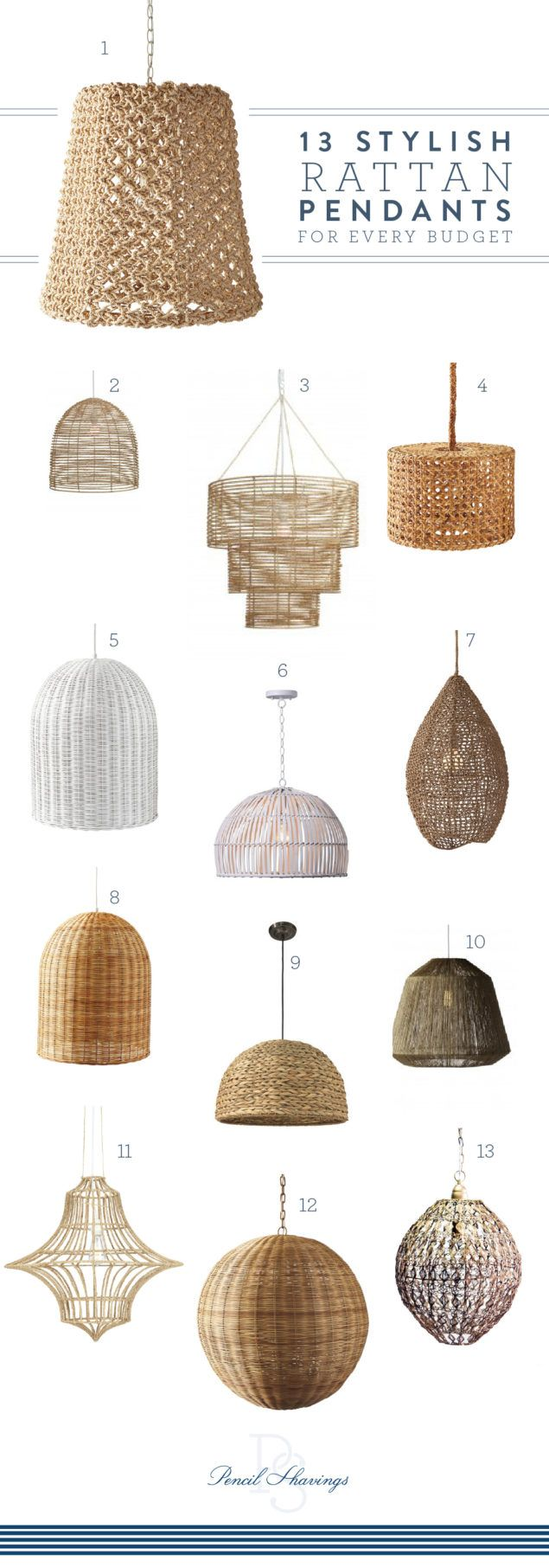 Are you noticing the rattan trend happening everywhere lately? I'm particularly keen on rattan pendant lights – there's something so beachy and fresh about them, and the bell shape feels crisply contemporary with a nod to natural fibers. I've seen them in pairs over kitchen islands, or solo over dining tables. Get the whole look including my favorites at every budget at www.pencilshavingsstudio.com #budgetlighting #kitchenlighting #naturallighting #rattan #pendantlighting #chandeliers