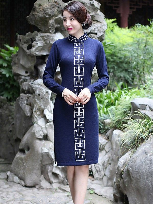 Short Wool Qipao / Cheongsam Dress with Long Sleeves