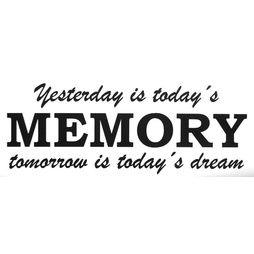 Väggdekor väggord väggtext Yesterday is today´s memory
