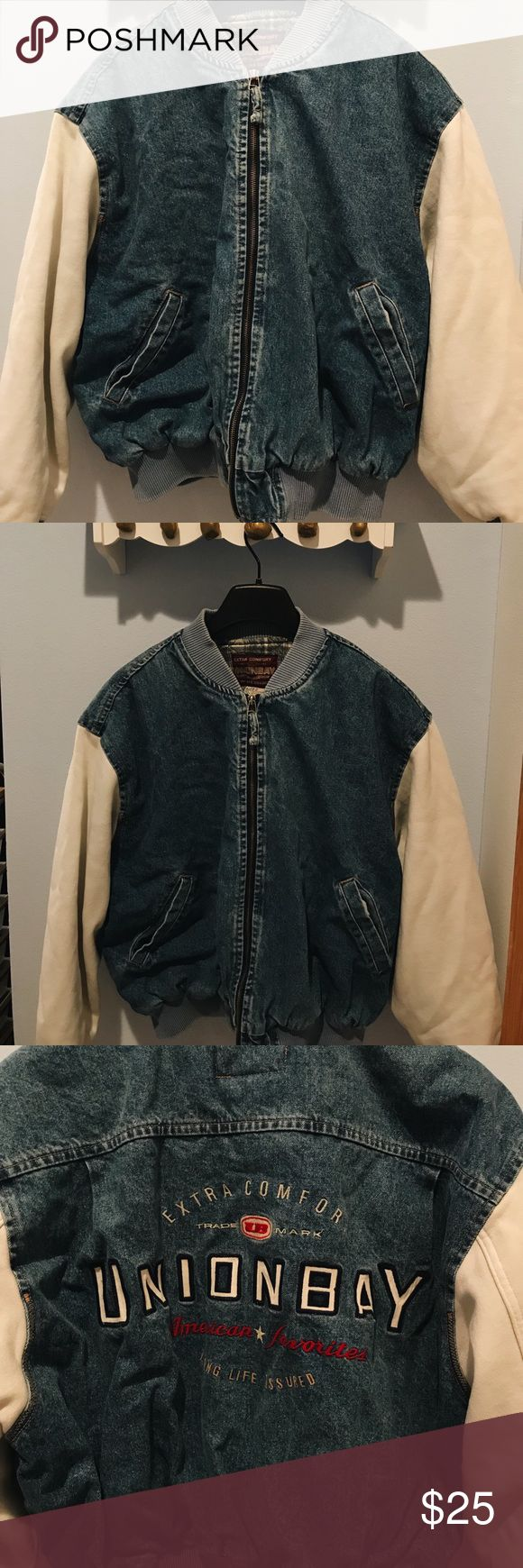 Vintage Union Bay denim jacket Very warm and thick, a few small stains on the sleeves. It has a cool embroidered design on the back, denim body, and sweatshirt type sleeves. Men's size M Jackets & Coats Jean Jackets