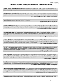 Danielson Aligned Lesson Plan Template for Formal Observations