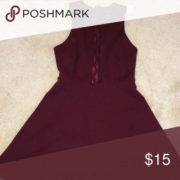 Selling this Short Burgundy Dress with chest slit on Poshmark! My username is: josygeek. #shopmycloset #poshmark #fashion #shopping #style #forsale #Forever 21 #Dresses & Skirts