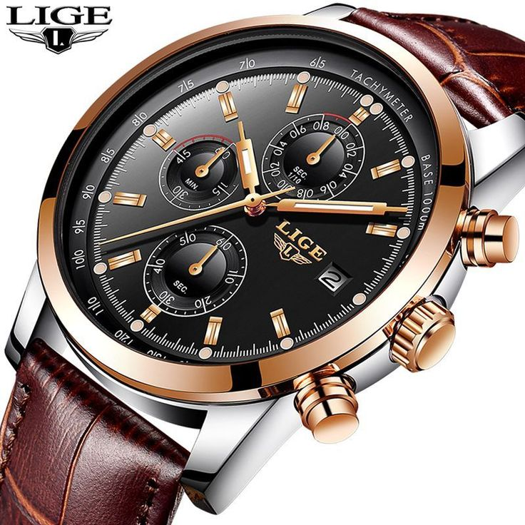 <b>LIGE</b> Mens Watches <b>Top Brand Luxury</b> Leather Casual Quartz ...