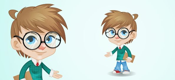 Little nerdy boy cartoon character, holding a notepad in his hand and showing something with the other one. He has big round glasses and comes for free.