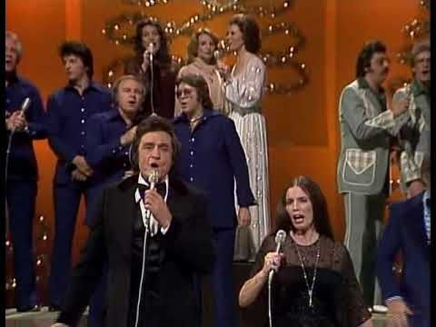 Cash sings Children Go Where I Send Thee with June Carter, The Statler Brothers, Roy Orbinson, Helen & Anita Carter, Carl Perkins, Jerry Lee Lewis and others on his Christmas Show in 1977