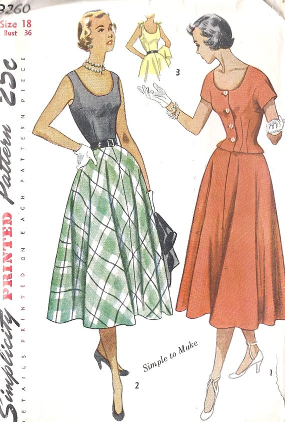 1950s Misses One Piece Dress and Jacket Vintage by MissBettysAttic, $12.00Pattern Simplicity, Simplicity 3260, Jackets Vintage, Vintage Sewing, 1950 Simplicity, Vintage Pattern, 1950 S Pattern, 3260 Dresses, Sewing Patterns