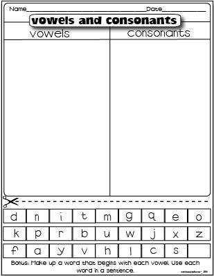 vowels and consonants freebie