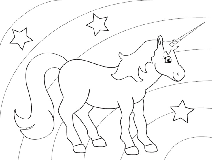 unicorn coloring page - Rainbow Picture To Colour