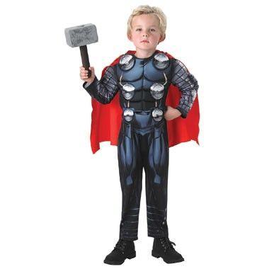 Avengers Thor kostuum deluxe - maat 92/116  Verkleed je als de superheld Thor! Dit kostuum in maat 92/116 bestaat uit een bedrukte grijs met blauwe onesie inclusief rrode cape en de Thor hamer.  EUR 37.99  Meer informatie