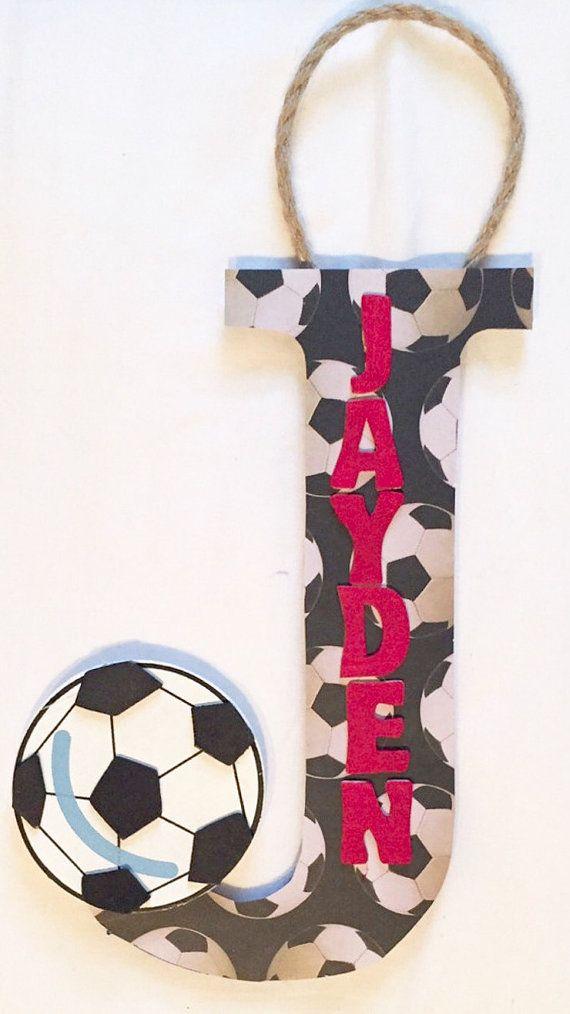 Soccer Themed Wall Hanging - Baby Boys Nursery - Door Sign - Sports Themed…