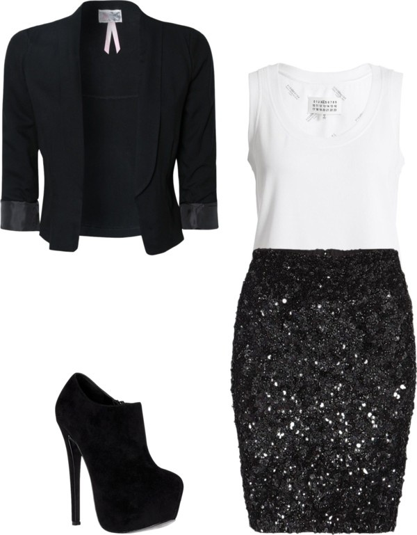 I need a black sequin skirt/white shirt combo for DIVAS 2013!