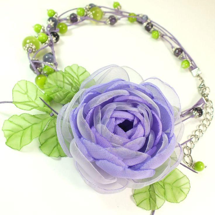 Купить Принцесса Сиреневой Полянки. Колье и брошь - цветок для девочки - комбинированный, сиреневый, фиолетовый, зеленый