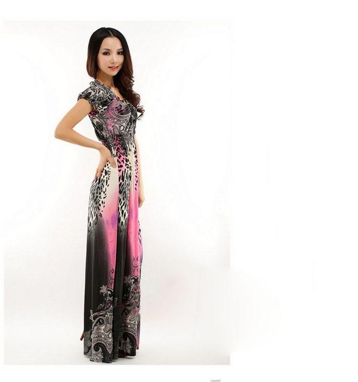2015 moda verano bohemia vestido largo tobillo longitud vestidos estampados de leopardo Sexy cuello en V Beach Dress vestido de tirantes XL XXL 6 colores en Vestidos de Moda y Complementos Mujer en AliExpress.com   Alibaba Group