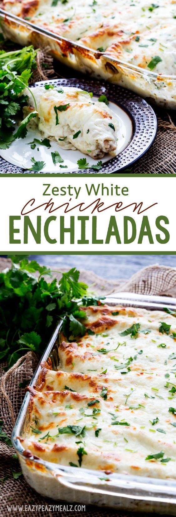 Zesty White Chicken Enchiladas with a zesty secret ingredient that makes them so yummy! - Eazy Peazy Mealz