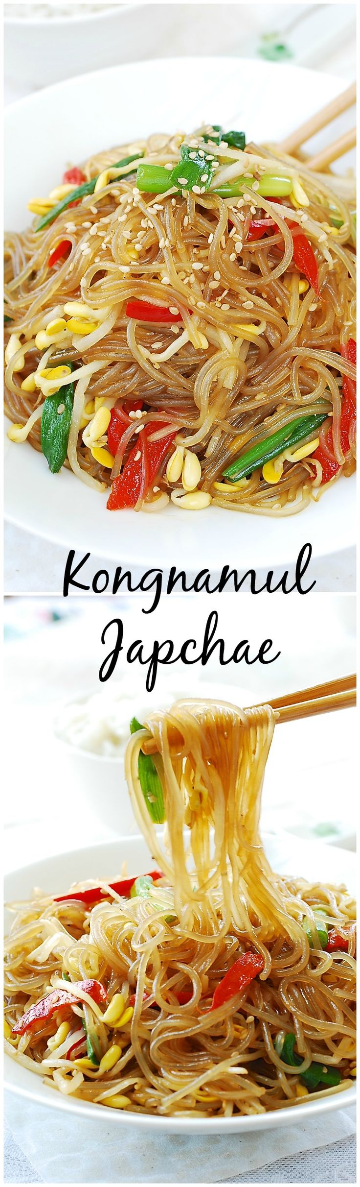 Quick and easy japchae made with soybean sprouts! Japchae is a Korean dish made with sweet potato starch noodles.