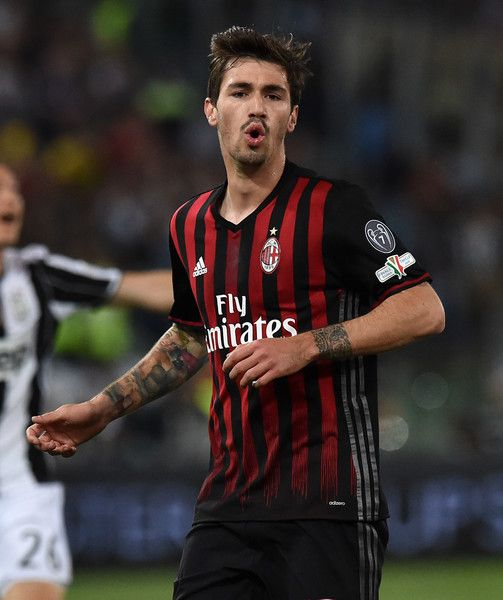 Alessio Romagnoli of AC Milan in action during the TIM Cup match between AC Milan and Juventus FC at Stadio Olimpico on May 21, 2016 in Rome, Italy.
