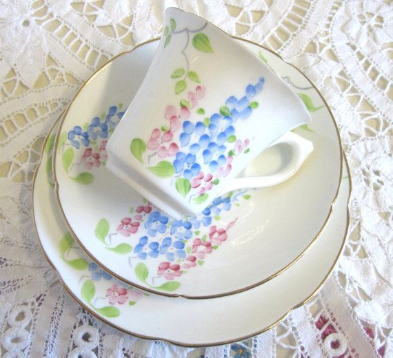 Vintage Tea Trio Hand Painted Pink and Blue by TheWhistlingMan