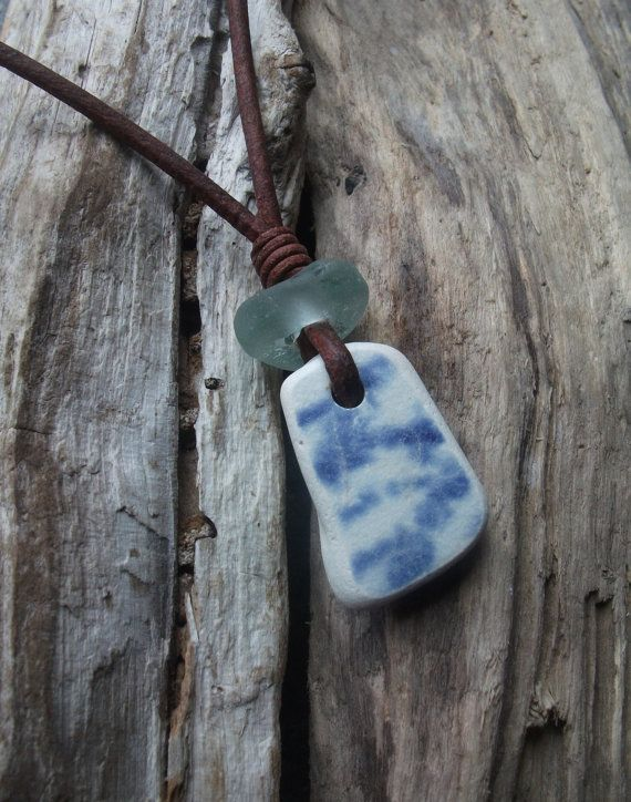 Sea Glass and Sea Pottery Necklace by byNaturesDesign on Etsy, $14.00