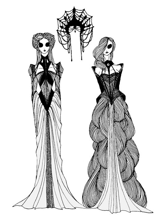 "Queen Reagent Cersei Lannister and Queen Margaery Tyrell from the ""A Song of Ice and Fire"" series."