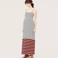 Beach Mixed Stripe Strapless Maxi Dress