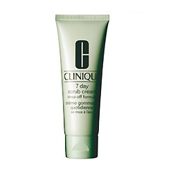 clinique    7 day scrub cream rinse off formula. scrubs away dead skin cells and i do it once a week.