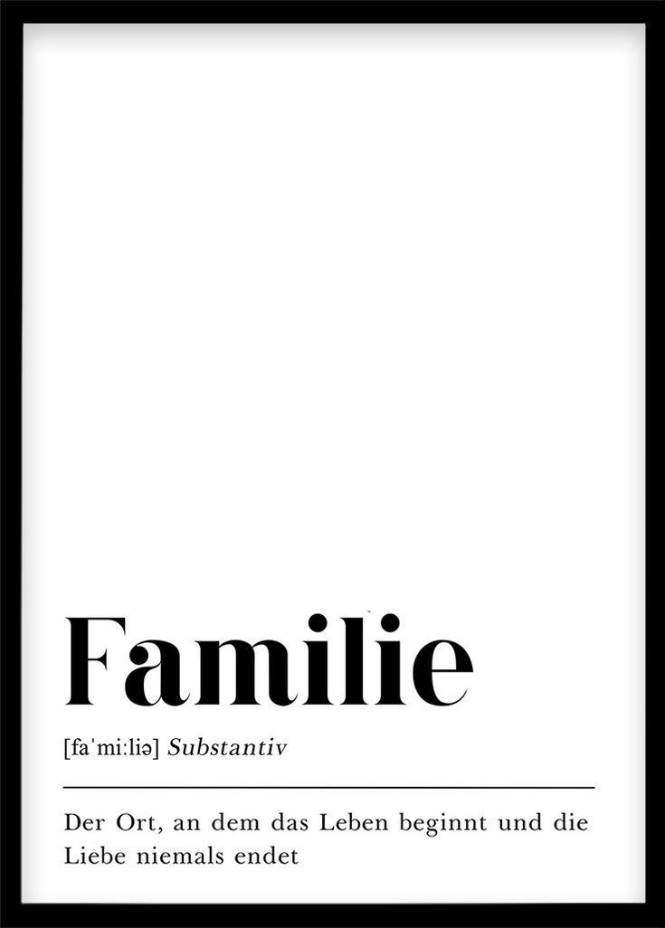 Familie Definition, Geschenk für Mutter Weihnachtsgeschenk Eltern DIN A4 Druck Plakat Deko Poster mit Text, Skandinavisch Schwarz Weiß