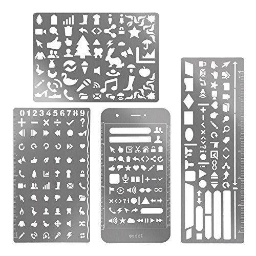 JUSLIN 6 ensembles de gabarits de peinture portable en acier inoxydable gabarit d'échelle gabarit de graphique pour album de découpage