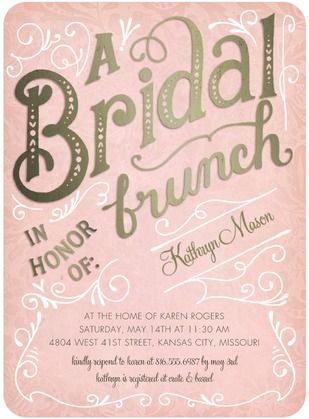Bridal Brunch - Signature White Bridal Shower Invitations - Petite Alma - Rose - Pink : Front