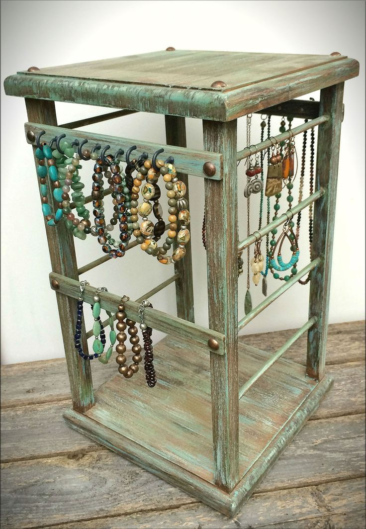 Rotating Personal Jewelry Stand, 4-Sided Wooden w/ Swamp Moss Paint Finish, Earring & Necklace Display