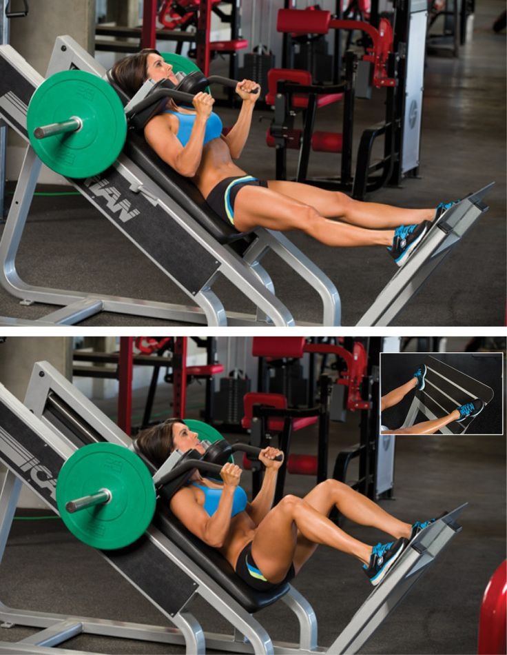 Hack Squat you can simulate this on the smith machine by stepping out and leaning back into the bar.