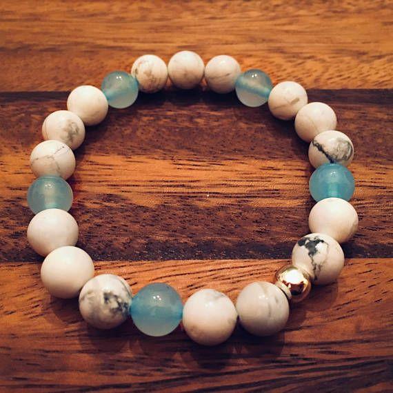 White Howlite & Blue Jade Bracelet / Beaded Bracelets / Bead