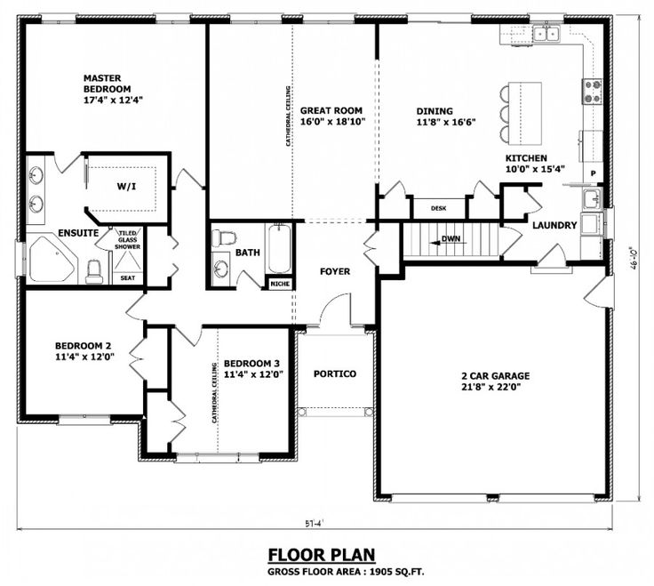 1905 sq ft the barrie house floor plan total kitchen for Area of a floor plan