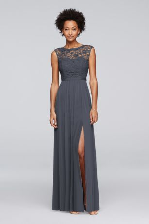 Looking for a little lace for your bridesmaids? This long bridesmaid dress…