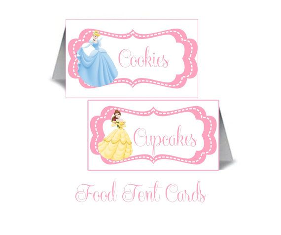 Disney Princess  Inspired Personalized Food Cards - DIY Printable File on Etsy, $8.00