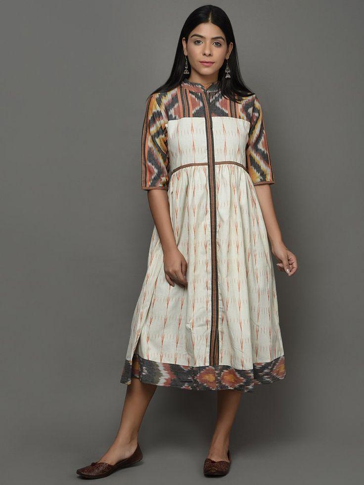 Off White Ikat Cotton Midi Dress