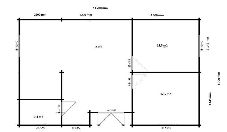 Ferienhaus mit zwei Schlafzimmern Dune 70m2 / 70mm / 12 x