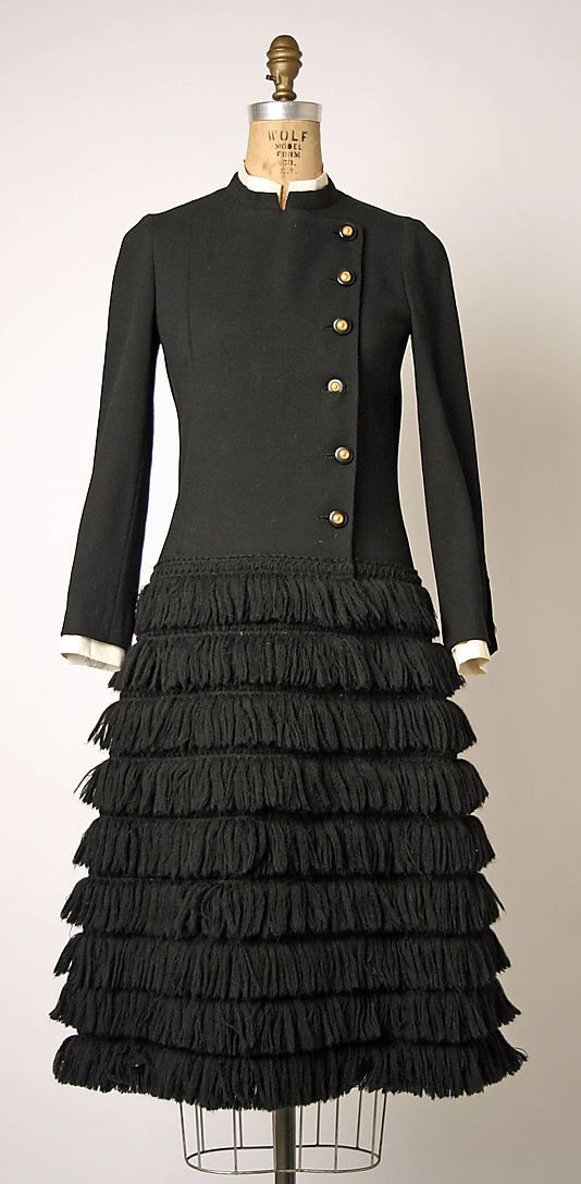 "Dress, (attributed) Gabrielle ""Coco"" Chanel (French, Saumur 1883–1971 Paris) for the House of Chanel (French, founded 1913): 1970-74, French, wool/silk. Marking: [label] ""Chanel"" [model number 37626 printed on back of label]"
