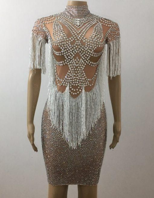bacaa63c Luxury Sparkly Crystals Tassel Dress in 2019   casual look   Prom ...