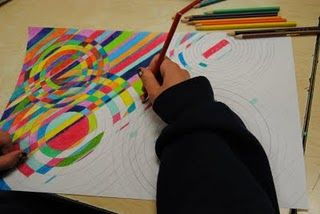 Inspired by French artist Sonia Delaunay's work  -  a fine balance of color, shape and line as an abstract form of art. Color theory, line, movement.