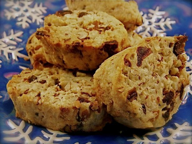This recipe is from the 1981 Sunset Vegetarian Cooking cookbook. The cookies include a combination of dates, coconut and walnuts. Preparation time does not include time for dough to chill in freezer. Cooking time is approximate, depending on how many cookie sheets are in the oven at one time!
