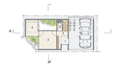 První podlaží: 1 vstup, 2 předsíň, 3 hala, 4 ložnice, 5 toaleta, 6 garáž.