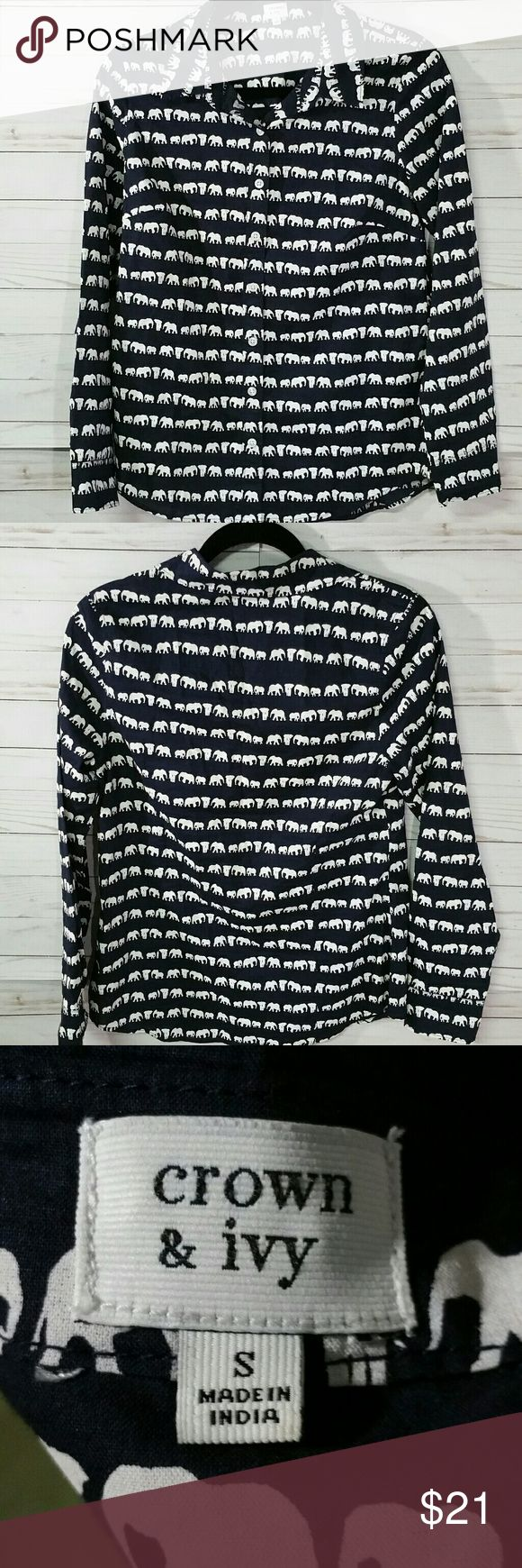 """Crown & Ivy long sleeved,  button up top Navy with white elephant print Long sleeve, button up 26"""" from shoulder to hem 16 """"pit to pit 22"""" from shoulder to wrist All measurements are approximate   I offer a bundle discount check out my other listings!   Thanks for looking! Crown & Ivy Tops"""